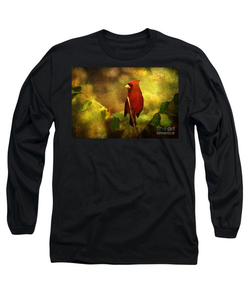 Cheery Red Cardinal  Long Sleeve T-Shirt by Lianne Schneider