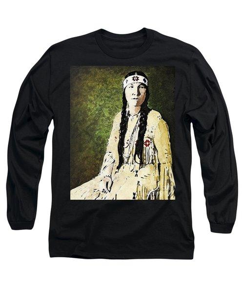 Long Sleeve T-Shirt featuring the digital art Cherokee Woman by Lianne Schneider