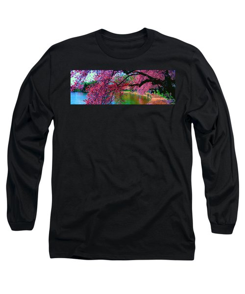 Long Sleeve T-Shirt featuring the photograph Cherry Blossom Walk Tidal Basin At 17th Street by Tom Jelen