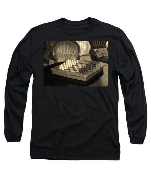 Chess Game Long Sleeve T-Shirt by Cynthia Guinn