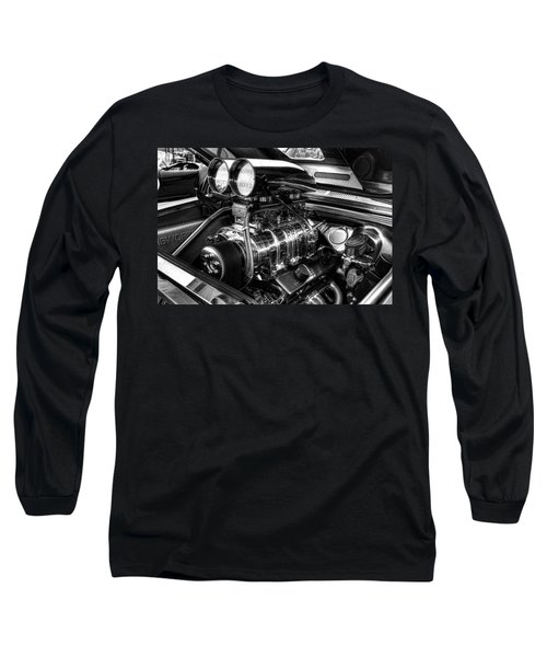Chevy Supercharger Motor Black And White Long Sleeve T-Shirt
