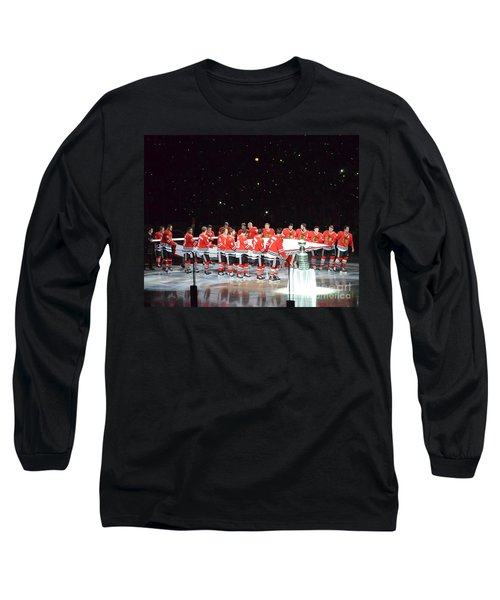 Chicago Blackhawks And The Banner Long Sleeve T-Shirt by Melissa Goodrich