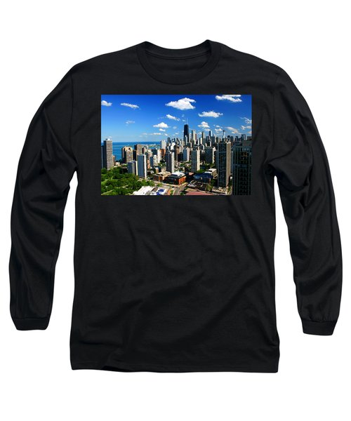 Chicago Buildings Skyline Clouds Long Sleeve T-Shirt