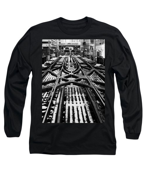 Long Sleeve T-Shirt featuring the photograph Chicago 'l' Tracks Winter by Kyle Hanson