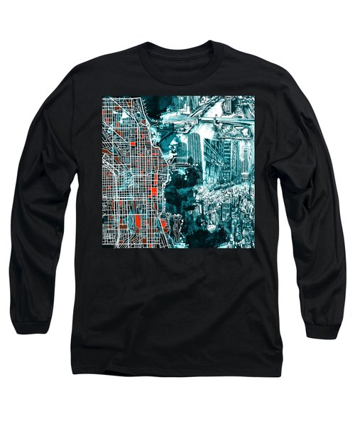 Chicago Map Drawing Collage Long Sleeve T-Shirt