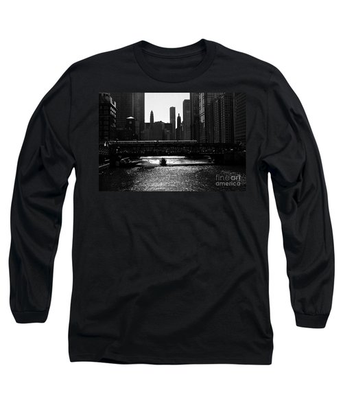 Chicago Morning Commute - Monochrome Long Sleeve T-Shirt