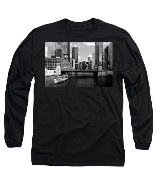 Chicago River Skyline Bridge Boat Long Sleeve T-Shirt