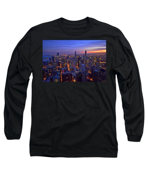 Long Sleeve T-Shirt featuring the photograph Chicago Skyline At Dusk From John Hancock Signature Lounge by Jeff at JSJ Photography