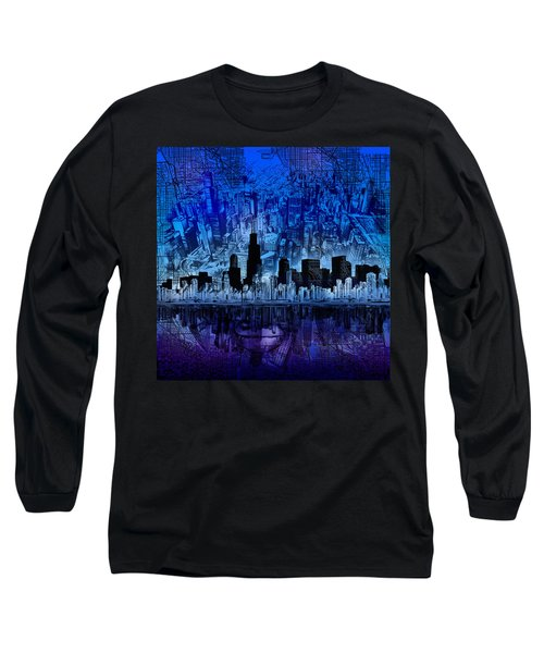 Chicago Skyline Blue Version Long Sleeve T-Shirt