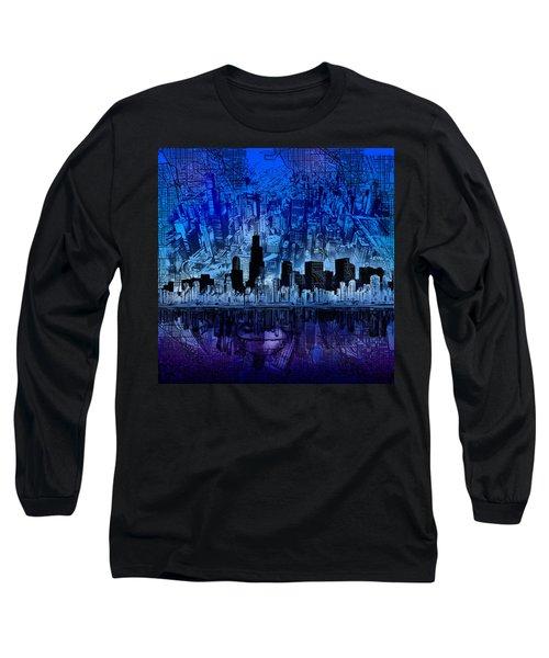 Chicago Skyline Blue Version Long Sleeve T-Shirt