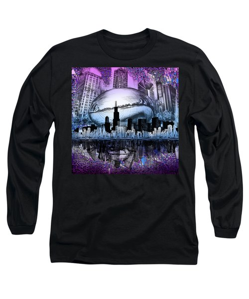 Chicago Skyline Drawing Collage 2 Long Sleeve T-Shirt