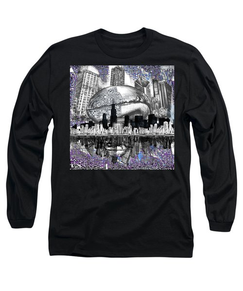 Chicago Skyline Drawing Collage Long Sleeve T-Shirt