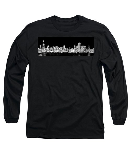 Chicago Skyline Fractal Black And White Long Sleeve T-Shirt by Adam Romanowicz
