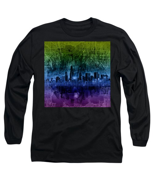 Chicago Skyline Gradient Version Long Sleeve T-Shirt