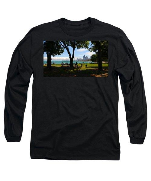 Chicago Skyline Lakefront Park Long Sleeve T-Shirt