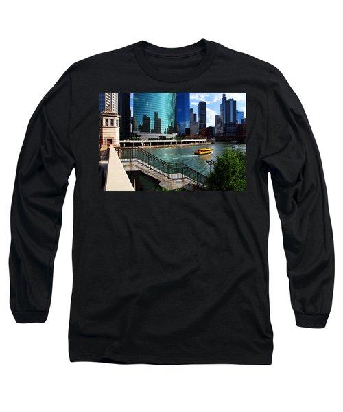 Chicago Skyline River Boat Long Sleeve T-Shirt