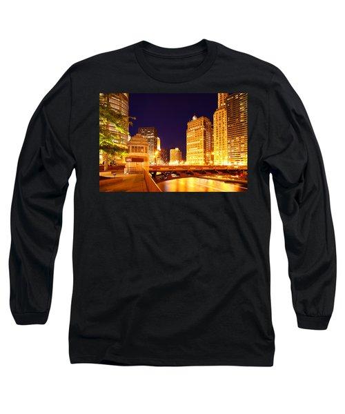 Chicago Skyline River Bridge Night Long Sleeve T-Shirt