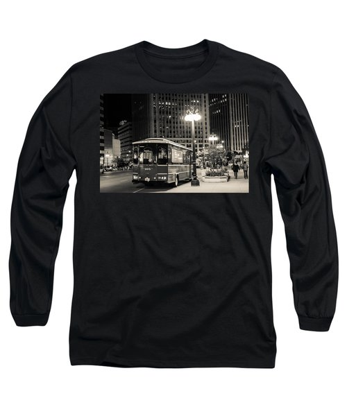 Chicago Trolly Stop Long Sleeve T-Shirt by Melinda Ledsome