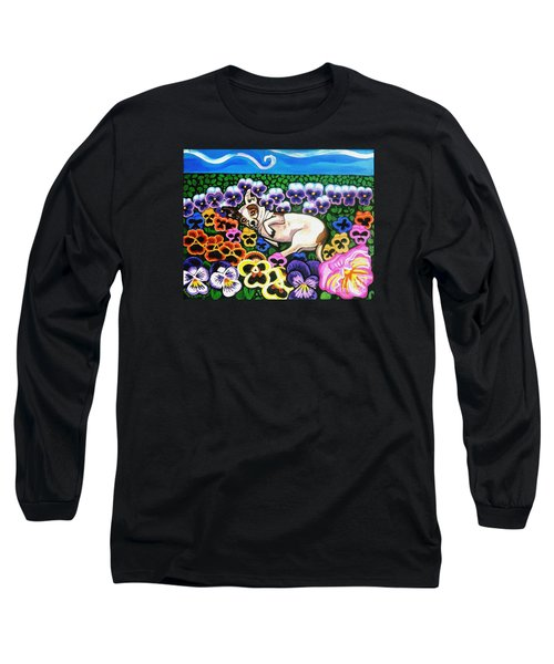 Chihuahua In Flowers Long Sleeve T-Shirt by Genevieve Esson