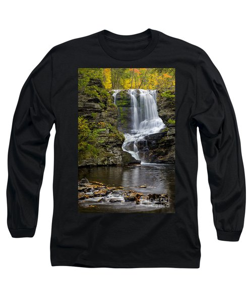 Long Sleeve T-Shirt featuring the photograph Childs Park Waterfall by Susan Candelario
