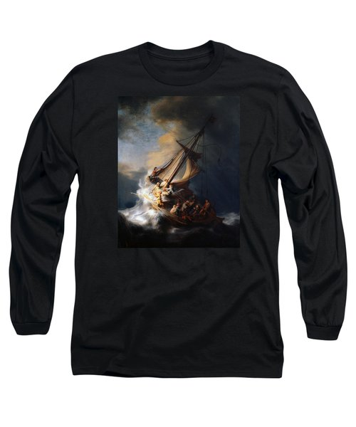Christ And The Storm Long Sleeve T-Shirt by Rembrandt