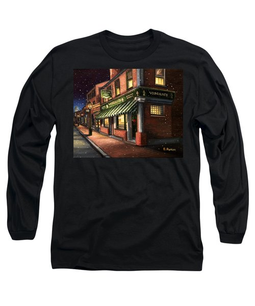 Christmas At Virgilios Long Sleeve T-Shirt by Eileen Patten Oliver