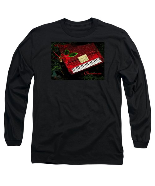 Long Sleeve T-Shirt featuring the photograph Christmas Piano Card by Rosalie Scanlon