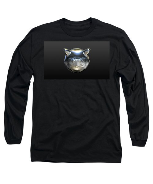 Chrome Cat Long Sleeve T-Shirt by Stacy C Bottoms
