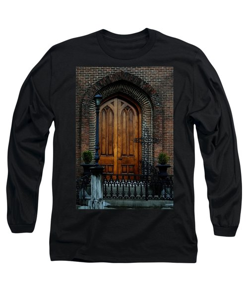 Church Arch And Wooden Door Architecture Long Sleeve T-Shirt by Lesa Fine
