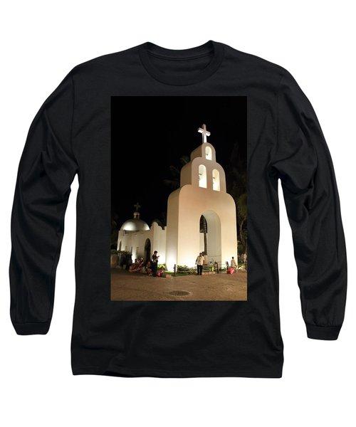 Church At Night In Playa Del Carmen Long Sleeve T-Shirt