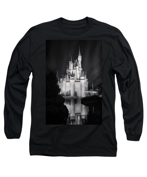 Cinderella's Castle Reflection Black And White Long Sleeve T-Shirt