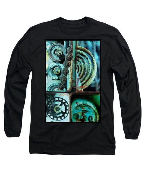 Circle Collage In Blue Long Sleeve T-Shirt by Fran Riley