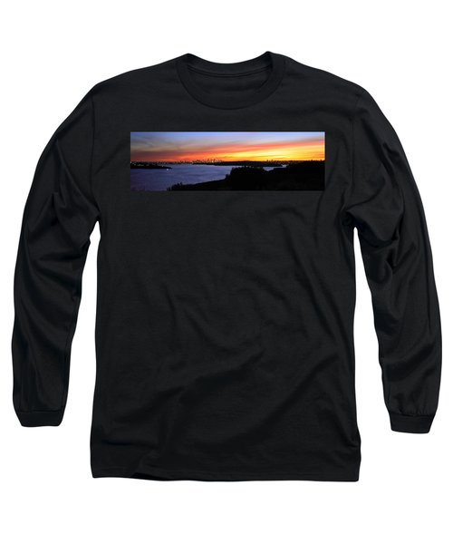 Long Sleeve T-Shirt featuring the photograph City Lights In The Sunset by Miroslava Jurcik