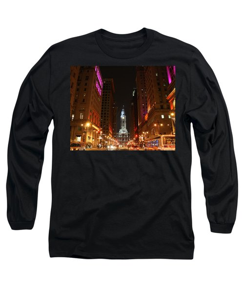Philadelphia City Lights Long Sleeve T-Shirt by Christopher Woods