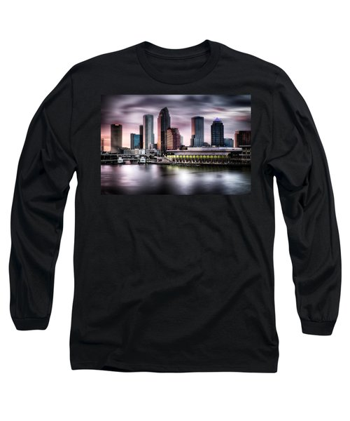 City Of Tampa Skyline At Dusk In Hdr Long Sleeve T-Shirt by Michael White