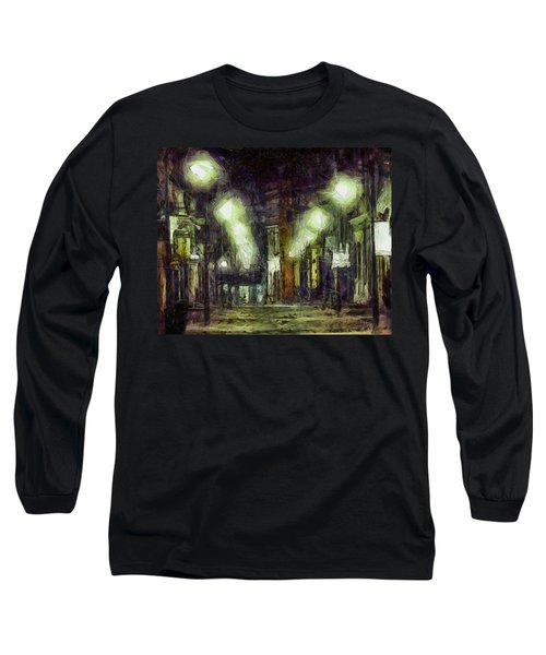 Long Sleeve T-Shirt featuring the drawing City Street by Joe Misrasi