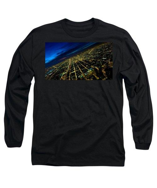City Street Lights Above Long Sleeve T-Shirt