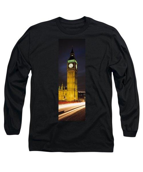 Clock Tower Lit Up At Night, Big Ben Long Sleeve T-Shirt