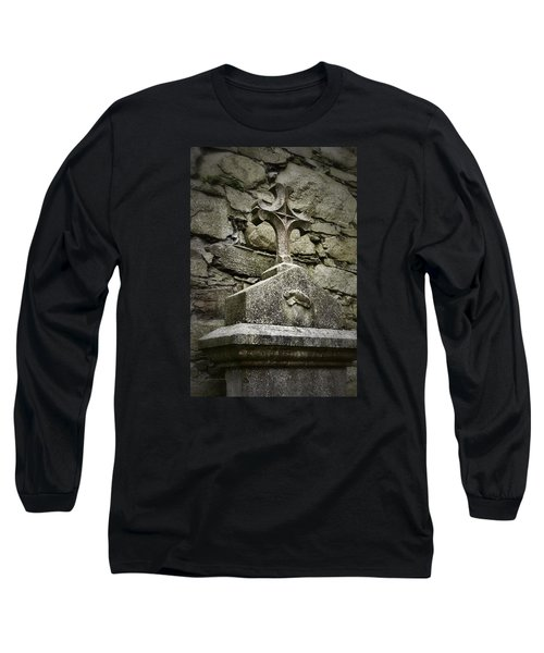 Cloister Cross At Jerpoint Abbey Long Sleeve T-Shirt by Nadalyn Larsen