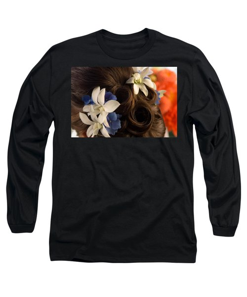 Close-up Of Flowers In A Brides Hair Long Sleeve T-Shirt