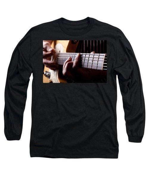 Close Up Shot Of A Man Playing Guitar Long Sleeve T-Shirt