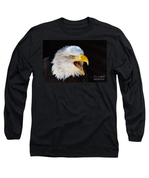 Closeup Portrait Of A Screaming American Bald Eagle Long Sleeve T-Shirt