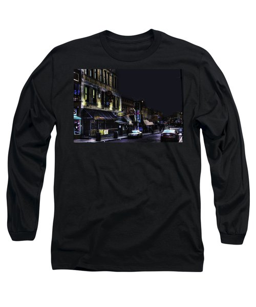 Memphis - Night - Closing Time On Beale Street Long Sleeve T-Shirt by Barry Jones