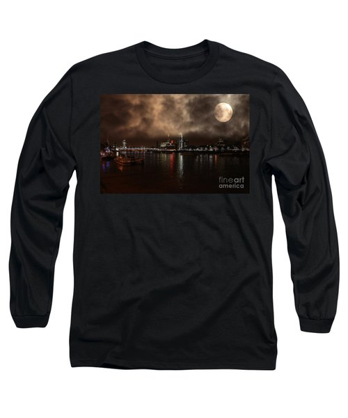 Clouds Over The River Thames Long Sleeve T-Shirt by Doc Braham