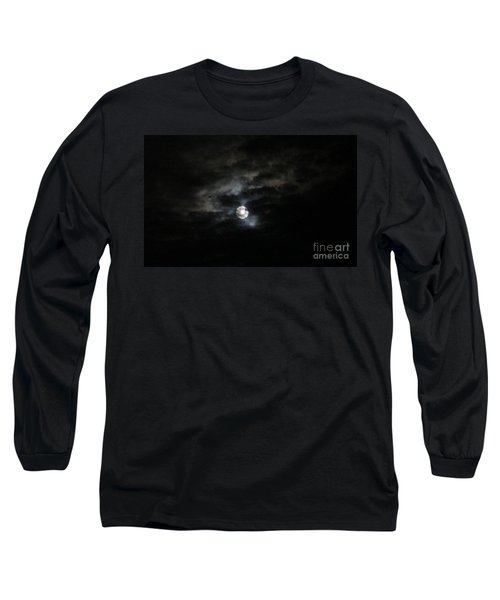 Night Time Cloudy Dark Moon Long Sleeve T-Shirt by Barbara Yearty