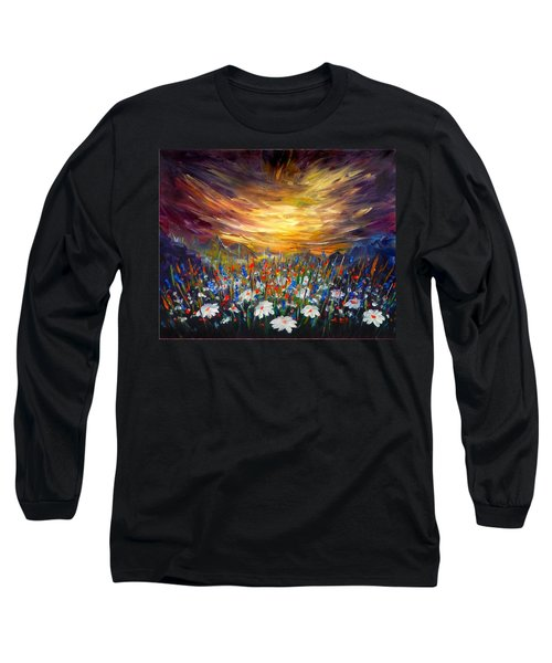 Long Sleeve T-Shirt featuring the painting Cloudy Sunset In Valley by Lilia D
