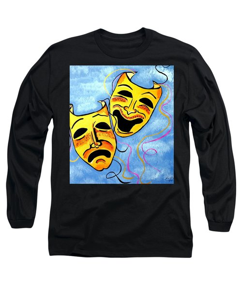 Long Sleeve T-Shirt featuring the painting Comedy And Tragedy by Nora Shepley