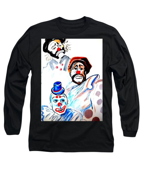 Long Sleeve T-Shirt featuring the painting Clowns In Heaven by Nora Shepley