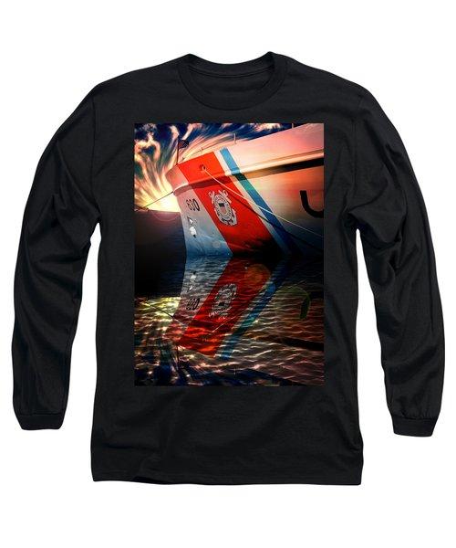 Long Sleeve T-Shirt featuring the mixed media Coast Guard Uscg Alert Wmec-630 by Aaron Berg