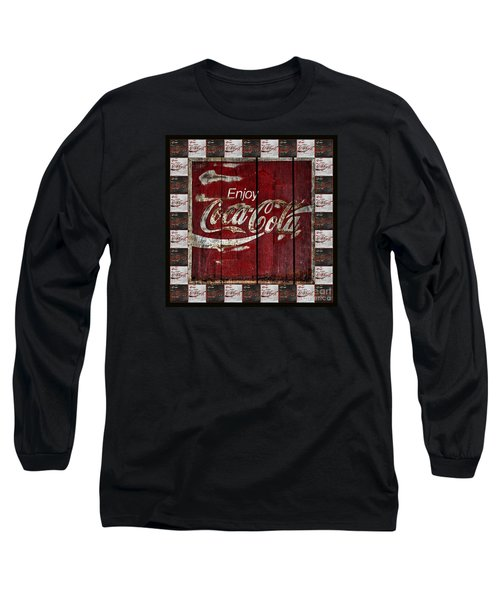 Coca Cola Sign With Little Cokes Border Long Sleeve T-Shirt by John Stephens